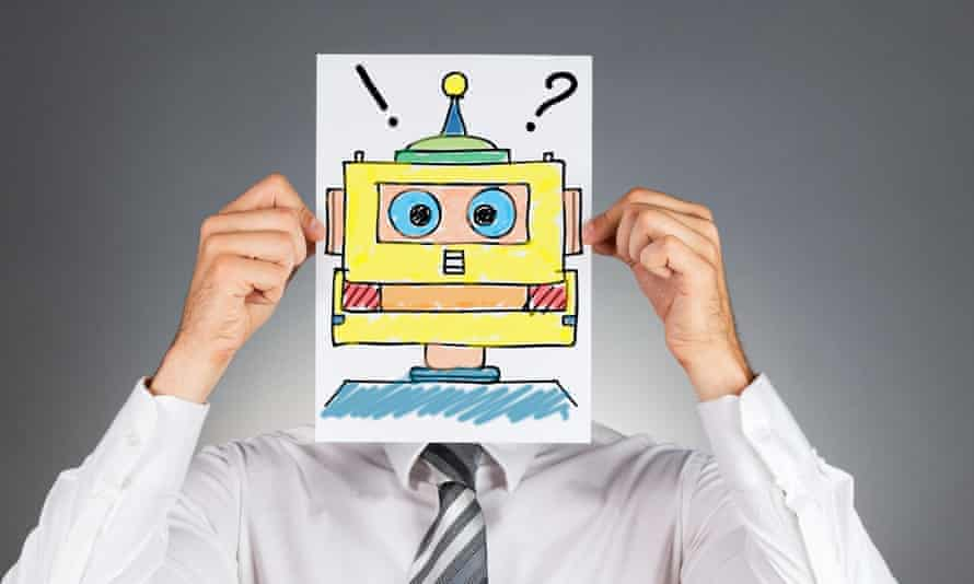 Man holding robot picture