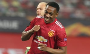 Anthony Martial of Manchester United celebrates after scoring their second goal.
