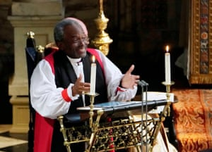Most Rev Bishop Michael Curry, primate of the Episcopal Church, delivers an address during the wedding
