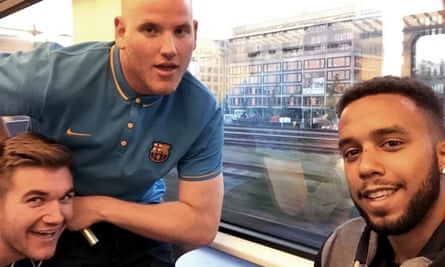 From left: Alek Skarlatos, Spencer Stone and Anthony Sadler pictured on board the train in France.
