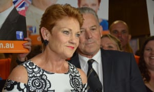 Pauline Hanson addresses a One Nation election function in Perth, after her party won just 4.7% of the vote.