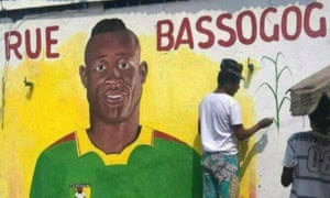 A mural depicting Christian Bassogog in his home city of Douala following Cameroon's Africa Cup of Nations triumph.