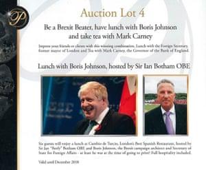 The Boris Johnson offer in the Presidents Club brochure.