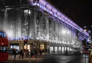 Selfridges in Oxford Street is illuminated by Christmas decorations on 6 December 1935. The department store sparkles decades later, on 23 November 2017