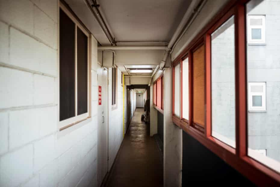 An empty hallway in the the Canning Street flats in North Melbourne.