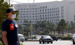 The Crowne Plaza hotel in Abu Dhabi, where two members of an Italian team were diagnosed with the coronavirus.