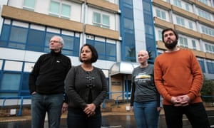 Northpoint apartment residents (from left) Graham Snewin, Rituparna Saha, Hayley Kennedy and Luke Austin