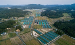 Nuclear waste storage area in Iitate in the Fukushima prefecture, Japan.