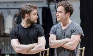 Daniel Radcliffe and Joshua McGuire rehearse Rosencrantz and Guildenstern Are Dead.