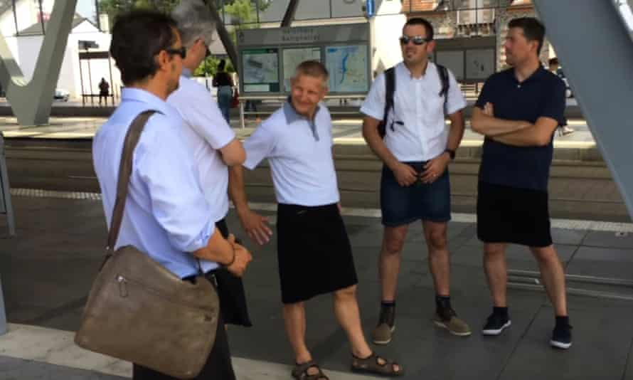 French bus drivers wear skirts to work during heatwave.