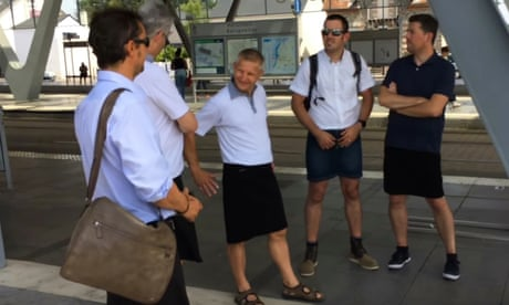Teenage boys wear skirts to school to protest against 'no