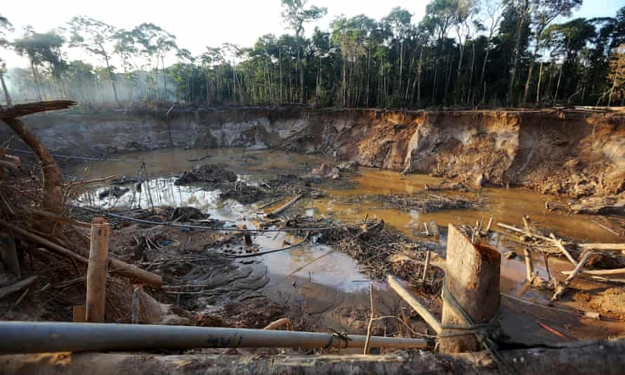 illegal goldmine in the Amazon forest
