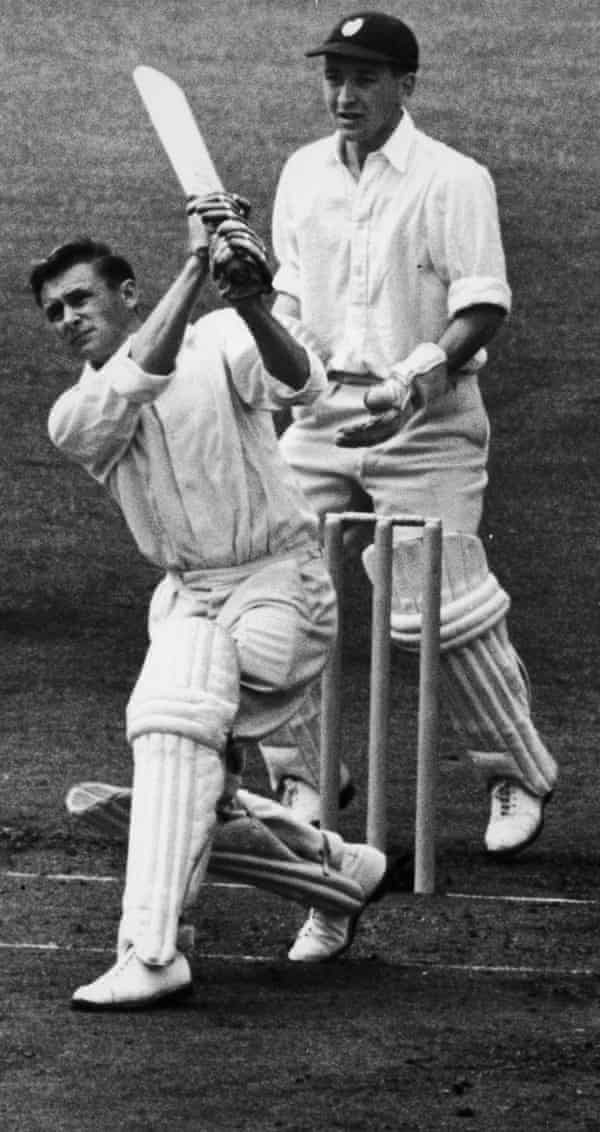 Jack Bond batting during the first day of a match against Surrey at the Oval in 1958.