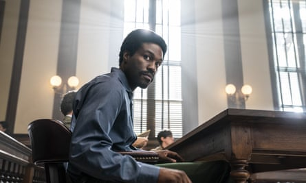 Yahya Abdul-Mateen II as Bobby Seale in The Chicago Trial of the Seven.