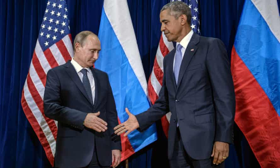 'The game has changed': Vladimir Putin and Barack Obama meet at the United Nations headquarters.