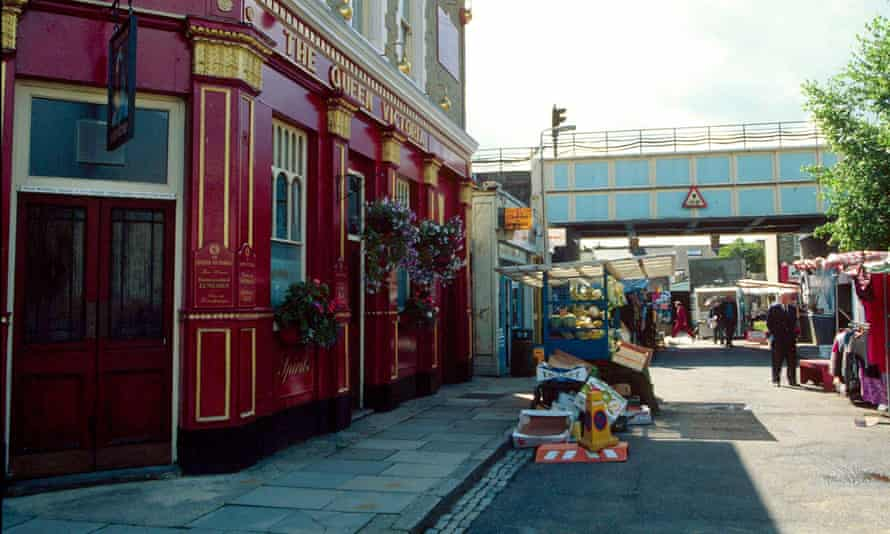 The fictional Queen Vic pub, on the set of EastEnders.