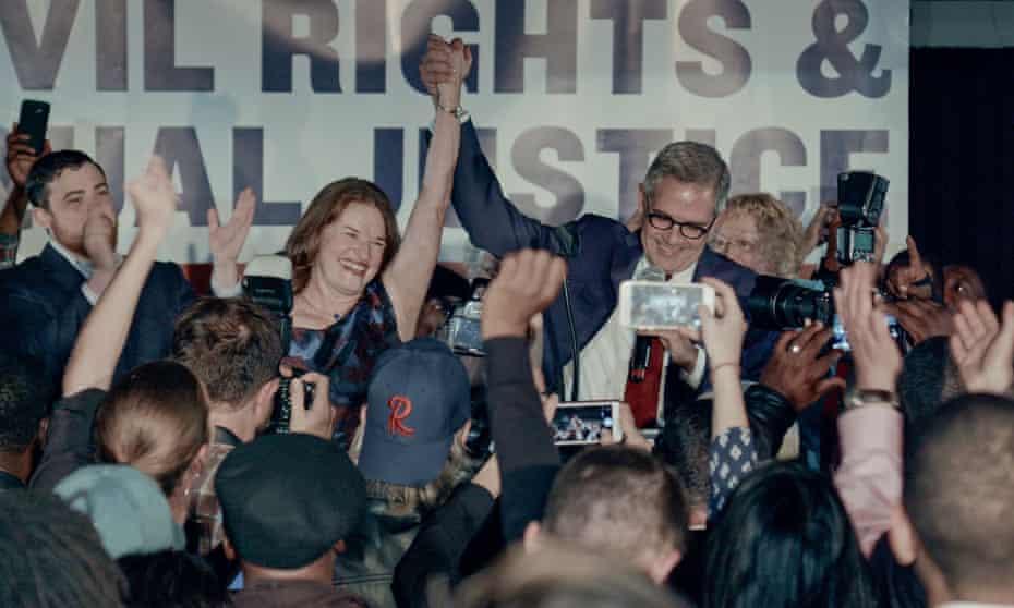 Larry Krasner celebrates alongside his wife, Judge Lisa Millett Rau, after being elected Philadelphia DA.