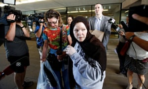 Amanda Korody, John Nuttall and Maureen Smith (left), John's mother, leave the law courts after a supreme court judge ordered their release.