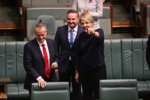 The leader of the opposition, Bill Shorten, arrives to deliver his budget reply speech