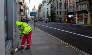 A street cleaner in Fleet Street, London. The report says: 'The increase in the number of people in poverty in London has been almost entirely among those in working families.'