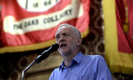 Jeremy Corbyn speaks to supporters in Barnsley