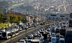 Traffic jams form during the first day of school in Istanbul.
