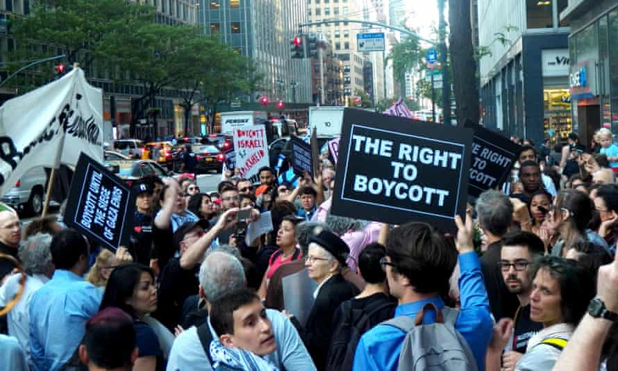 People protest outside Governor Andrew Cuomo's office in New York City over boycotts against Israel.