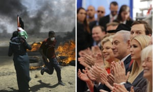 Palestinians protest near the border of Israel and the Gaza Strip, left, while dignitaries including Sara Netanyahu, Benjamin Netanyahu, Jared Kushner and Ivanka Trump, attend the opening ceremony of the new US embassy in Jerusalem.