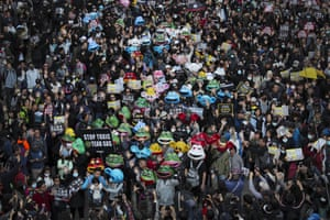 Pro-democracy protesters take part in a march in Hong Kong.