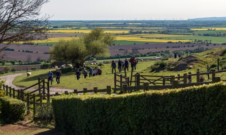 walkers on The Old Way, Ham Street to Canterbury pilgrimage route