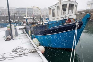 Snow falls at the port of Brest, Brittany