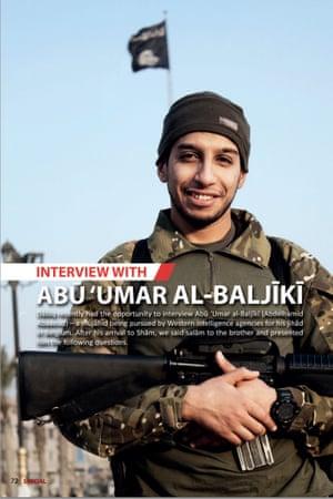 Abaaoud, aka Abu Umar al-Baljiki, from issue 7 of the Isis magazine Dabiq, published in February 2015.