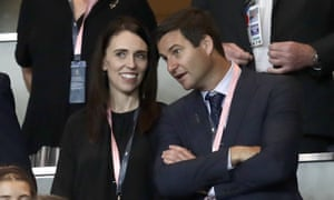 New Zealand Prime Minister Jacinda Ardern, left, with her partner Clarke Gayford, watching rugby in 2019.