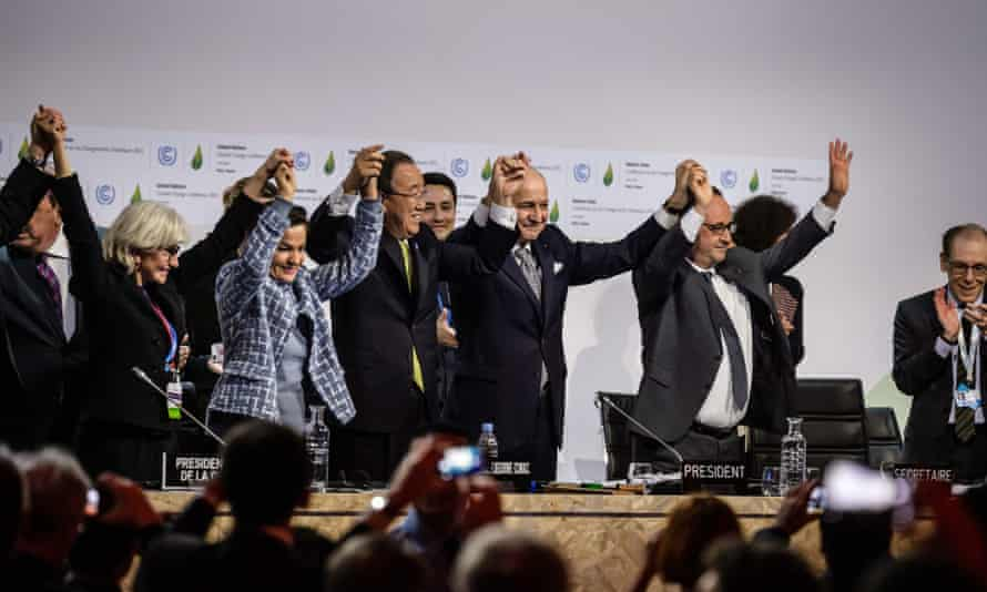 Jubilation after the adoption of the Paris agreement in Paris on 12 December.