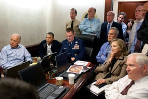 President Barack Obama, Vice-president Joe Biden and secretary of state Hillary Rodham Clinton sit with the national security team during the mission against Osama bin Laden on 1 May 2011.