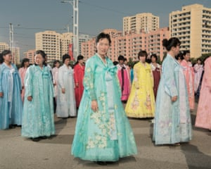 Mass dance rehearsal in front of the Monument to Party Founding, Pyongyang (October 2017)