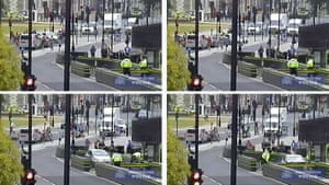 CCTV images show Salih Khater hitting cyclists, then driving at police officers before crashing into barriers.