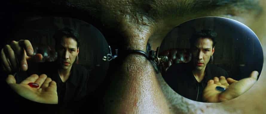 Keanu makes his choice in The Matrix.