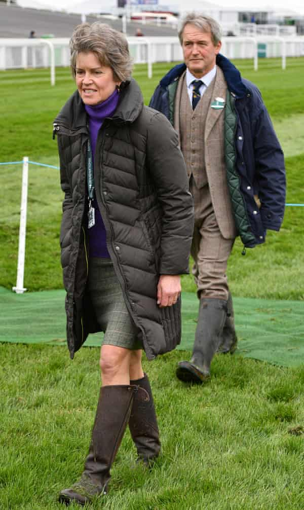 Rose and Owen Paterson walking the course at Aintree, 2017