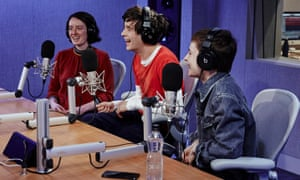 (L-R) Guardian deputy music editor Laura Snapes, 1975 frontman Matthew Healy and Chris of Christine and the Queens.