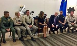Donald and Melania Trump meet police officers in Las Vegas.