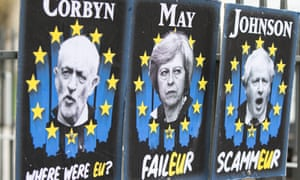 Pro EU posters erected opposite the houses of parliament