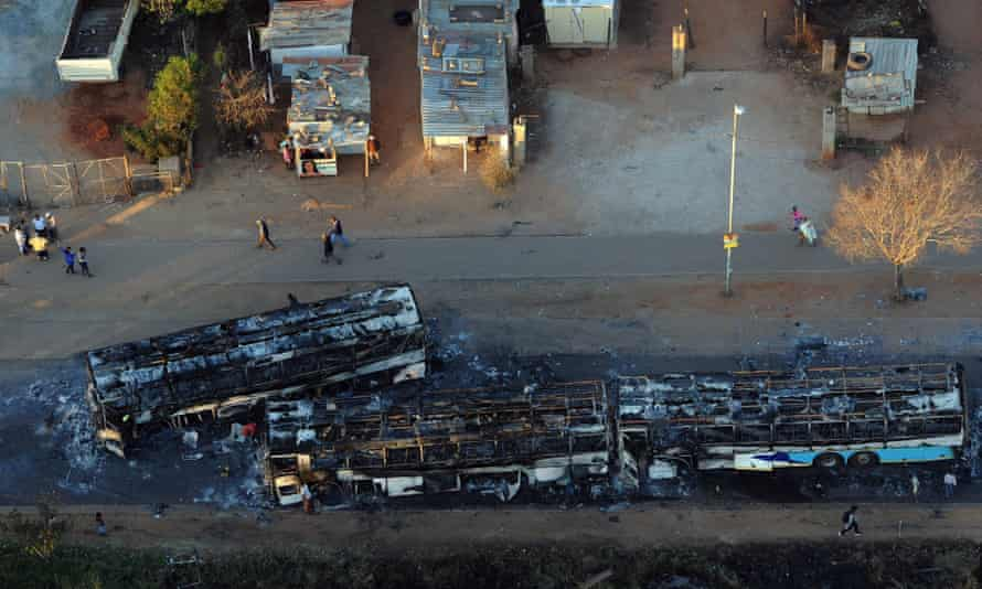 Burned out buses following one of the protests, in Tshwane, against the ANC leadership.