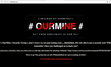 The message posted by OurMine to Wikileaks' website URL.