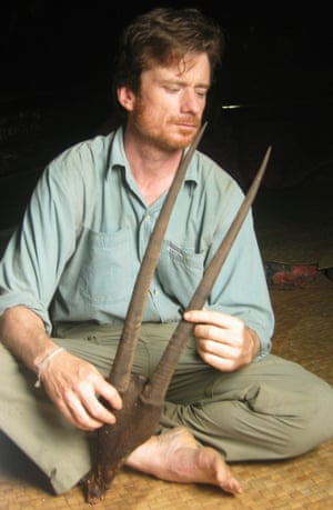 William Robichaud with saola horns in Laos.