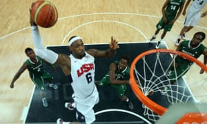 LeBron James in action against Nigeria at London 2012, where he won his second Olympic gold medal
