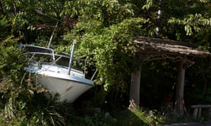 The bow of a motorboat pokes out of the undergrowth after being left where it is for four and a half years in the town of Naraha