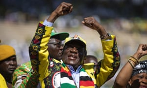 President Emmerson Mnangagwa arrives for his final election rally before the election on Monday.