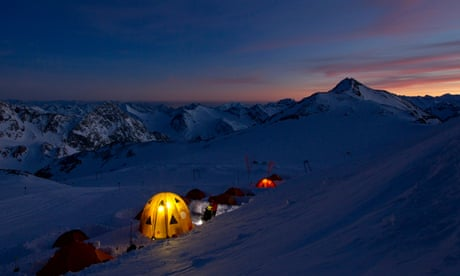 Snow camping up a mountain – and up all night
