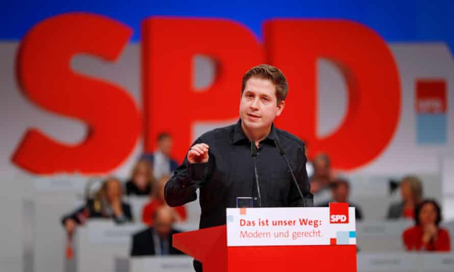 Kevin Kühnert, head of the SPD's youth wing, addressing a party convention in Berlin last year.
